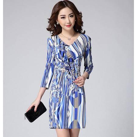 2015春装新款欧美女装冰雪丝烫钻 V领修身中袖连衣裙