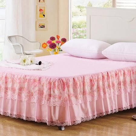 经典韩式印花公主蕾丝床罩床裙 防尘床笠床垫保护罩床单
