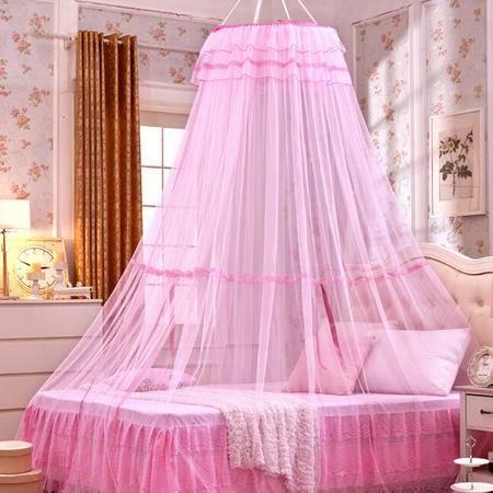 韩版宫廷吊顶蚊帐落地加大加密吸顶圆顶公主蕾丝学生蚊帐