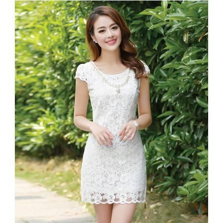 正品圆领蕾丝短裙女纯色拉链短袖连衣裙