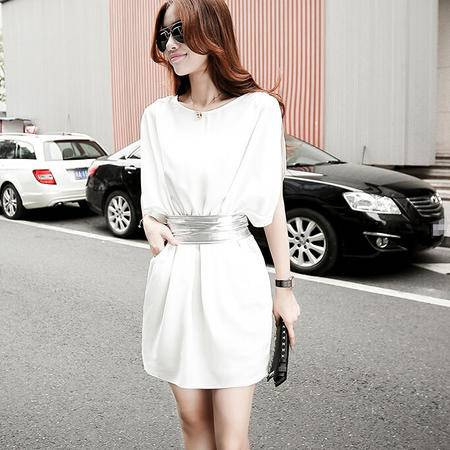 夏季新款韩版女装简约百搭细麻雪纺连衣裙配腰带