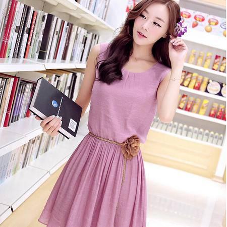 2015年夏季韩版修身优雅气质无袖连衣裙配腰带