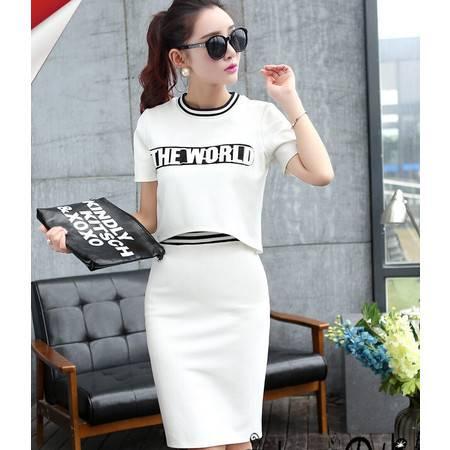 2015夏季新款女装短袖长裙包臀大码显瘦两件套