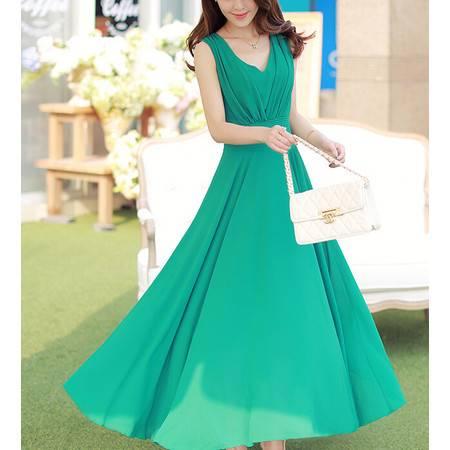 2015夏季新款时尚气质女神百搭修身大气高端长款连衣