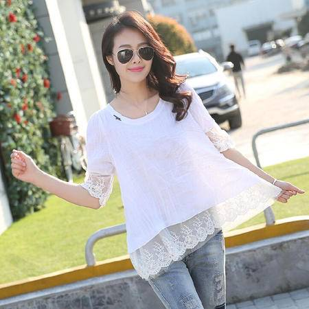2015夏装女装正品新款修身显瘦气质蕾丝衫雪纺衫
