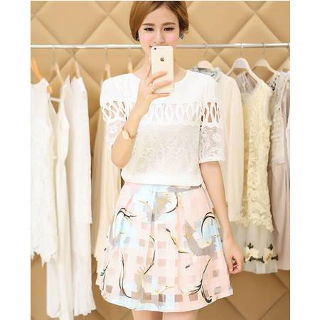 2015欧美夏季两件套装蕾丝短袖配雪纺连衣裙淑女裙