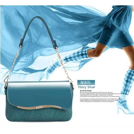 2015新款潮春季糖果色漆皮链条蛇纹女包单肩手提斜跨小包包