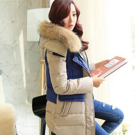 新款韩版加厚貉子大毛领拼接撞色中长款大码修身羽绒服女潮