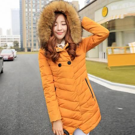 秋冬新款棉衣女大毛领连帽中长款韩版棉服女式棉袄外套