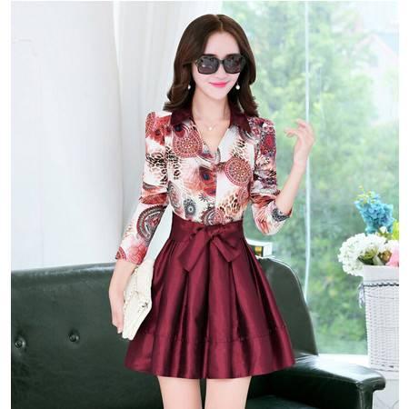 秋季新款韩版假两件长袖POLO领短裙连衣裙
