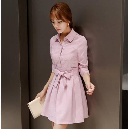 秋装新款韩版时尚修身长袖连衣裙女裙