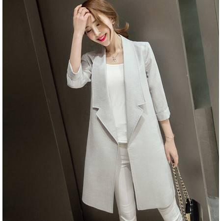 秋冬季开衫中长款西装 女式七分袖直筒OL外套