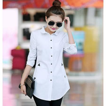 春新款韩版修身时尚中长款女装中长款长袖衬衫
