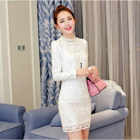 秋装新款中长款蕾丝连衣裙韩版立领打底裙
