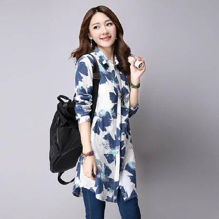 秋季新款韩版亚麻印花衬衫女中长款文艺范复古棉麻衬衣上衣