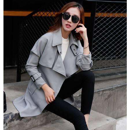 日系秋冬季纯色中长款裙摆型女装个性前卫风衣外套