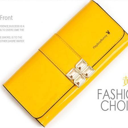 2015花花公子新款纯色花朵女士长款搭扣钱包三折时尚钱夹