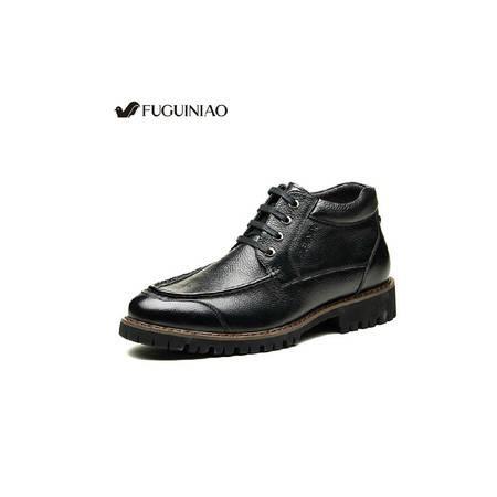 2015富贵鸟男鞋真皮皮鞋冬季男士皮靴雪地保暖棉鞋加绒毛男鞋男靴