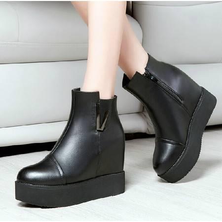 莱卡金顿秋冬新品厚底内增高短靴短筒女英伦时尚松糕底平底女靴子