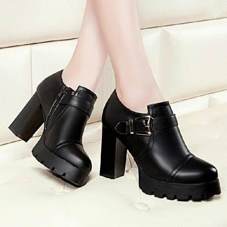 莱卡金顿2015秋季新品单鞋尖头高跟鞋英伦风深口鞋潮流女黑色女鞋