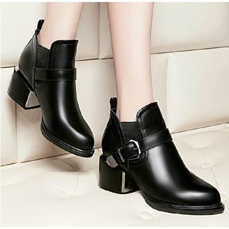 莱卡金顿 秋季女鞋短靴短筒女靴子中跟尖头英伦马丁靴及裸靴潮