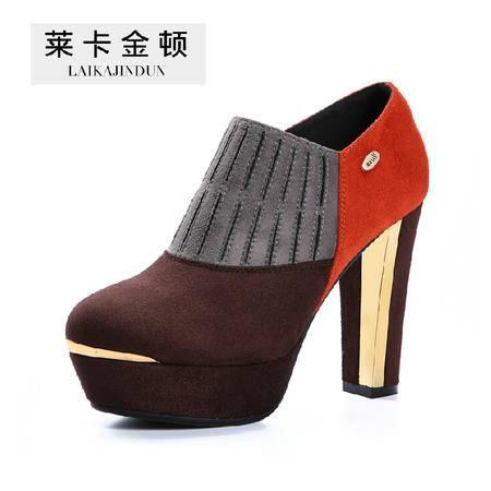 2015莱卡金顿秋季女鞋短筒高跟短靴子女深口粗跟女鞋休闲单鞋女