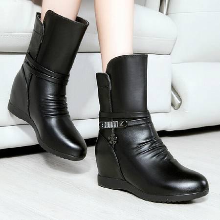 莱卡金顿2015秋冬新款女鞋平底短筒马丁靴英伦风女靴内增高短靴