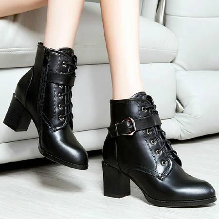 2015莱卡金顿冬季新款女鞋短筒粗跟高跟马丁靴皮带扣短靴英伦风女靴