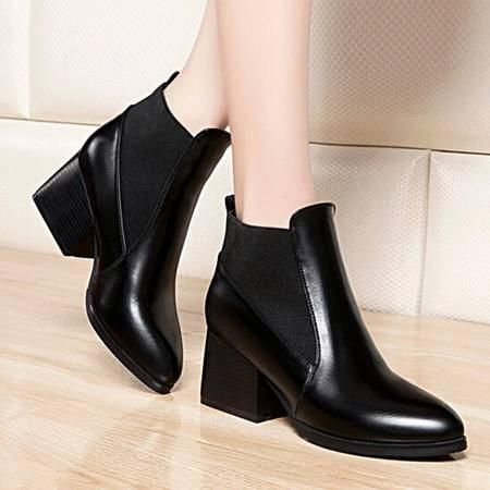 莱卡金顿2015秋季新品马丁靴中跟短筒女靴英伦短靴女鞋尖头女靴子