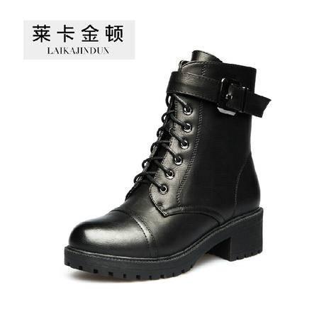 莱卡金顿2015冬季新款女鞋短筒粗跟马丁靴皮带扣女靴前系带短靴