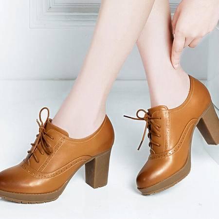 莱卡金顿2015新款春季女鞋粗跟高跟系带牛筋底圆头深口软面单鞋