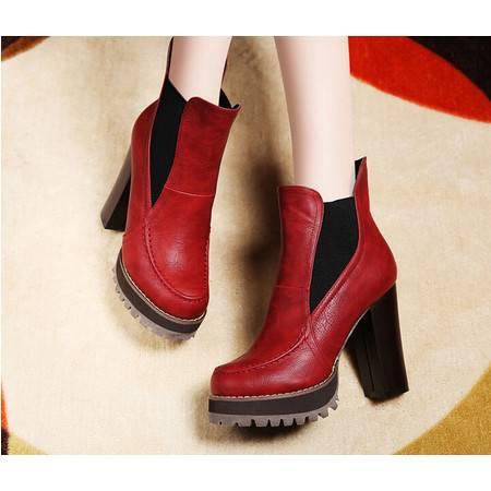莱卡金顿 冬款粗跟马丁靴高跟短靴加绒防水台女靴子短筒女靴