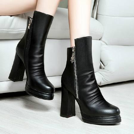 莱卡金顿2015秋冬新款女鞋粗跟高跟马丁靴英伦风女靴侧拉链中筒靴
