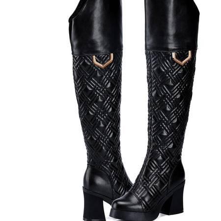 2015莱卡金顿秋冬新款女鞋粗跟过膝长靴子高跟女英伦风潮女骑士靴