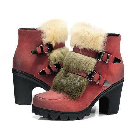 2015莱卡金顿冬季新品兔毛短靴子粗跟女靴高跟马丁靴欧美骑士靴