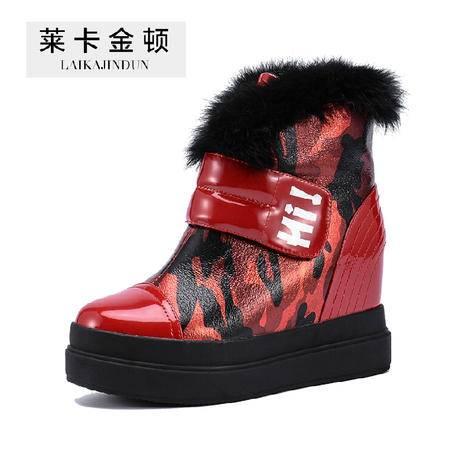 莱卡金顿2015秋冬新款内增高短靴女雪地靴女马丁靴厚底松糕女鞋