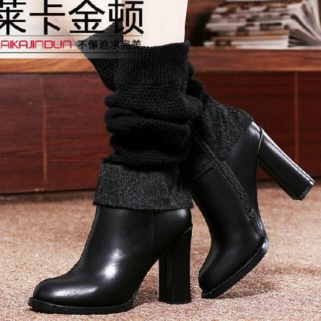 2015莱卡金顿秋冬新款女鞋长筒靴马丁靴女高跟女靴子软面粗跟女鞋