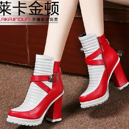 2015莱卡金顿秋冬新款女鞋高跟呛口短靴女粗跟女靴子时尚马丁靴女