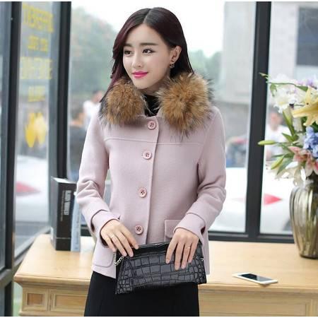 韩版淑女冬季双口袋单排扣短款羊毛呢外套潮