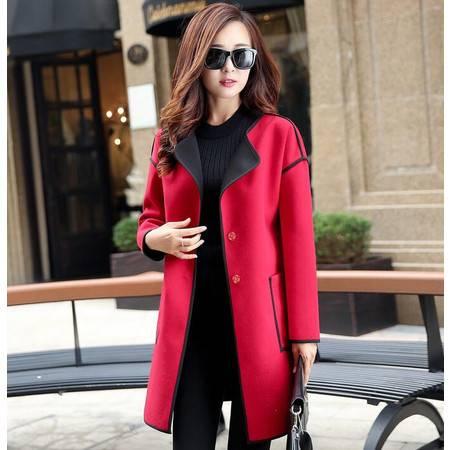 秋冬 新款简约大气韩版中长款修身毛呢大衣外套