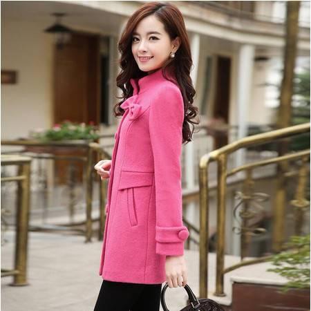 韩版女装秋冬泡泡袖蝴蝶结立领毛呢外套修身呢子大衣潮