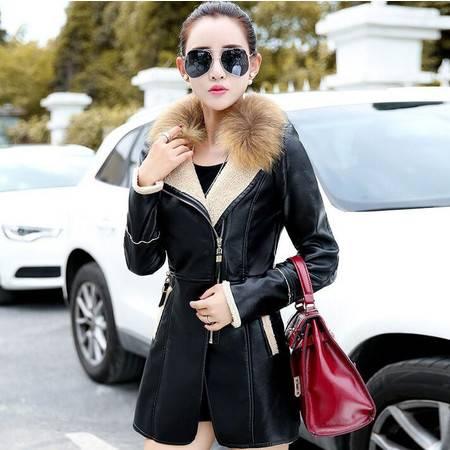 冬装显瘦气质甜美女装正品新款修身皮衣外套