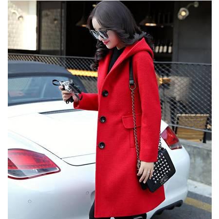 冬装显瘦气质甜美女装正品新款修身毛呢外套连帽大衣