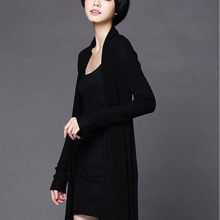 精品女装冬季新款长款欧美大牌女式针织衫纯色长袖针织外套