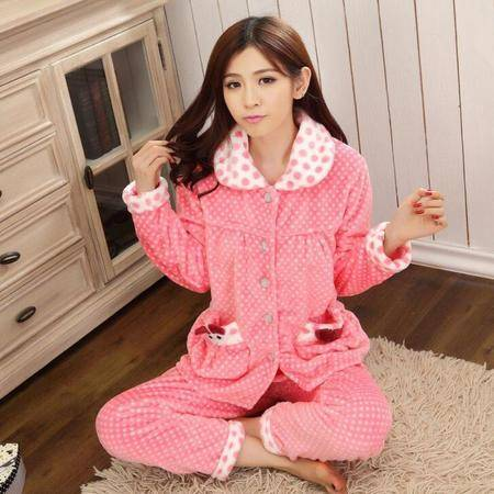 新款冬季加厚法兰绒睡衣保暖开衫长袖女士睡衣加厚家居服肥佬装