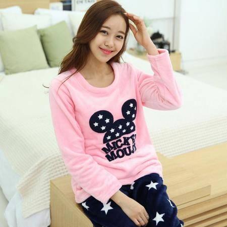 韩版运动服冬季长袖女士可爱休闲粉色少女外穿加厚法兰绒睡衣套装
