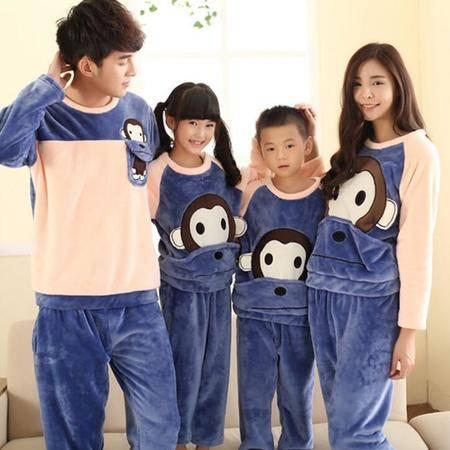 新款悠嘻猴卡通冬季加厚法兰绒亲子装睡衣长袖儿童可爱男女家居服