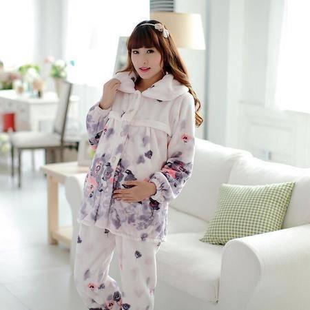 新款加厚法兰绒女士月子服产后孕妇哺乳长袖睡衣家居服冬天保暖套装