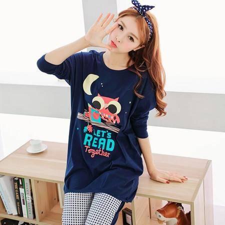 新款韩版圆领套头可爱长袖女士睡衣少女外穿家居服套装秋冬装