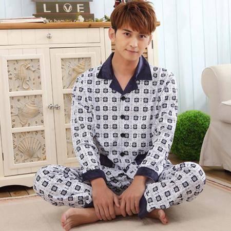 新款超柔加厚冬季男士纯棉长袖睡衣中年开衫翻领保暖家居服套装秋